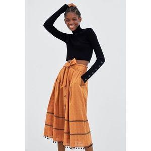 Zara Pleated Midi Skirt W/ Pom Pom Details Small